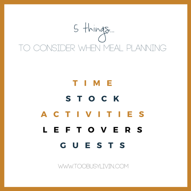 5 things to consider when meal planning