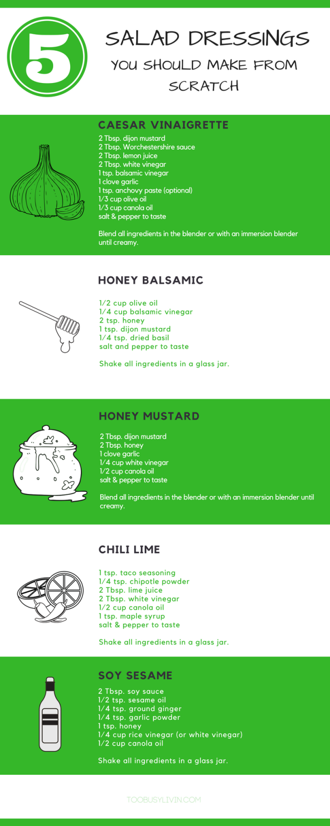 5 salad dressings infographic